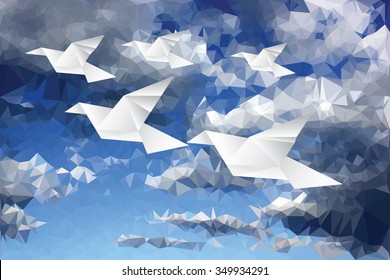 vector illustration with origami paper birds in paper clouds, low poly
