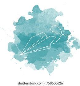 Vector illustration origami plane on faux watercolor background