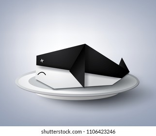A Vector Illustration Of Origami Whale In The Plate