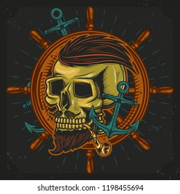 Vector illustration. The original skull with a beard and a Smoking pipe, on the background of the anchor and steering wheel