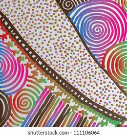 Vector illustration of ornamental colorful seventies background.