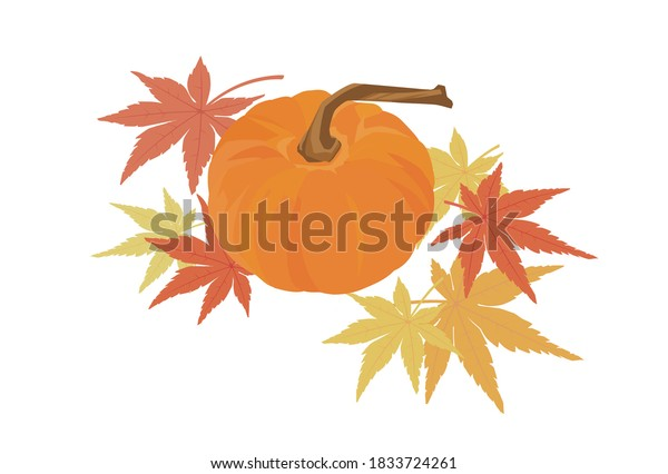 ベクターイラスト |観賞用カボチャと秋の葉