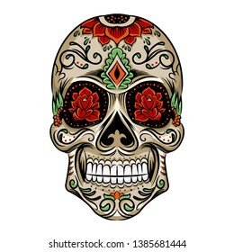 Vector illustration of an ornately decorated Day of the Dead sugar skull, or calavera.