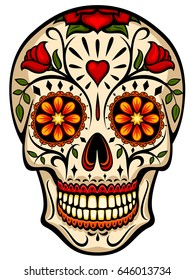 Vector illustration of an ornately decorated Day of the Dead (Dia de los Muertos) sugar skull, or calavera.