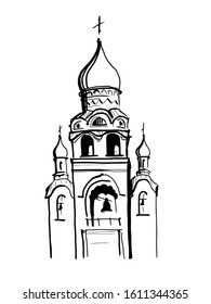 A vector illustration of an Orthodox Church with dome, towers and bells