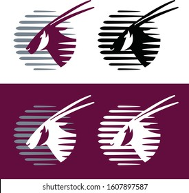 vector illustration of Oryx - Qatari Qatar airways or airlines logo icon