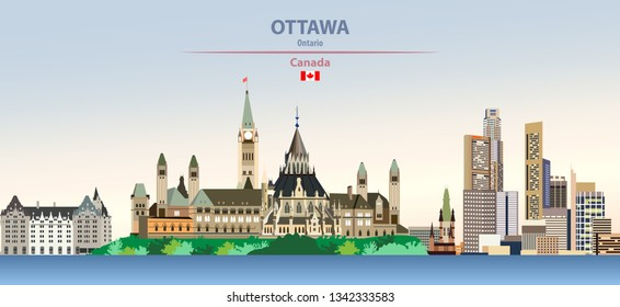 Vector illustration of Ottawa city skyline on colorful gradient beautiful day sky background with flag of Canada