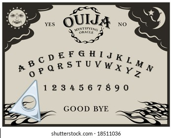vector illustration of a Ouija board... planchette can be moved around
