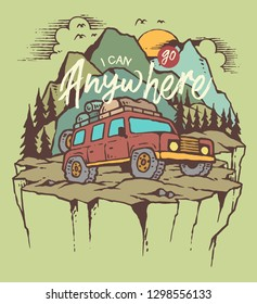 Vector illustration of outdoor adventure car on the mountain