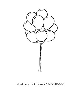 Vector Illustration of outline balloons isolated on white background.