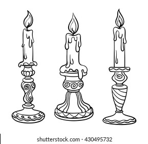Vector illustration, outline, coloring book, set, candle in a candlestick, flame, hand-painting, abstraction, art, design element, church