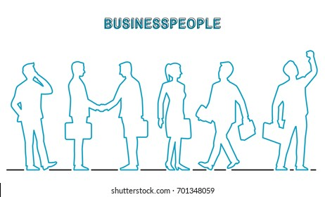 Vector illustration outline contour of businesspeople in various activities, businessman and businesswoman. Outline, line art, contour, hand drawn, doodle, silhouette, character, simple style.