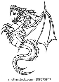 vector illustration outline dragon with wings on white background - Dragon Outline