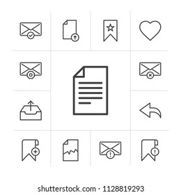 Vector illustration of outline icons for bookmarks, files, email on white background. Set includes  select,  book,  envelope,  bookmark,  home,  corrupt,  choose,  text modern flat and material icons.
