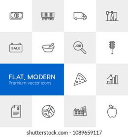 Vector illustration of outline icons for business, transports, food, industry on light background. Set includes  tech,  network,  safety,  building,  online,  finance modern flat and material icons.