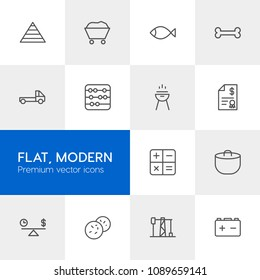 Vector illustration of outline icons for business, transports, food, industry on light background. Set includes calculator,  bbq,  parcel,  sign,  home,  button,  food modern flat and material icons.