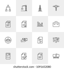 Vector illustration of outline icons for business, industry on light background. Set includes  concept,  construction, business, calculator,  payment,  technology,  pay modern flat and material icons.