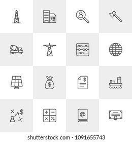 Vector illustration of outline icons for business, industry on light background. Set includes  message,  paper,  business, axe, calculator,  award,  book,  construction modern flat and material icons.