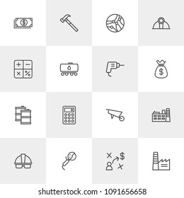 Vector illustration of outline icons for business, industry on light background. Set includes  financial,  bill,  work,  tech,  business,  connection,  bag,  cash, usd modern flat and material icons.