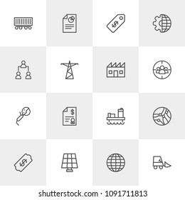 Vector illustration of outline icons for business, industry on light background. Set includes  industrial,  industry,  bill,  drilling,  tech,  forklift,  discount, oil modern flat and material icons.