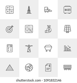 Vector illustration of outline icons for business, industry on light background. Set includes business, technology,  transport,  cargo,  rig,  gas,  graph,  financial modern flat and material icons.