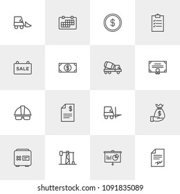 Vector illustration of outline icons for business, industry on light background. Set includes  delivery,  oil,  month, helmet,  finance, contract,  forklift,  payment modern flat and material icons.