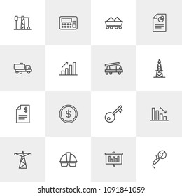 Vector illustration of outline icons for business, industry on light background. Set includes  energy,  chart,  lock,  currency, helmet, gas,  security, key,  account modern flat and material icons.