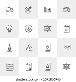 Vector illustration of outline icons for business, industry on light background. Set includes  data,  diagram,  mathematics, transportation, payment,  legal, center modern flat and material icons.