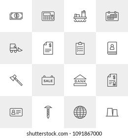 Vector illustration of outline icons for business, industry on light background. Set includes  hammer, passport,  label, global,  building,  wealth,  industrial,  work modern flat and material icons.