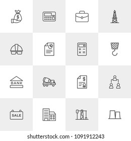 Vector illustration of outline icons for business, industry on light background. Set includes  production,  briefcase,  finance,  office,  city,  financial,  plant, gas modern flat and material icons.