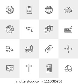 Vector illustration of outline icons for business, industry, road sign on light background. Set includes  ticket,  list,  paper, helmet,  industrial,  world,  report modern flat and material icons.
