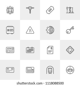 Vector illustration of outline icons for business, industry, road sign on light background. Set includes  machine,  target, tunnel,  month,  date,  repair,  speed,  day modern flat and material icons.