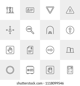 Vector illustration of outline icons for business, industry, road sign on light background. Set includes  id,  industry, power, calculator,  give,  street,  electricity modern flat and material icons.