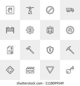 Vector illustration of outline icons for business, industry, road sign on light background. Set includes  building, transportation, key, fuel, hammer,  bank, work, red modern flat and material icons.