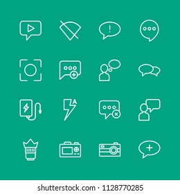 Vector illustration of outline icons for chat and messenger, mobile, photos on green background. Set includes  failure,  new, lens,  caption,  create,  space,  photo modern flat and material icons.