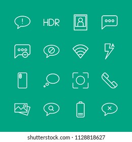 Vector illustration of outline icons for chat and messenger, mobile, photos on green background. Set includes  failure,  architecture,  shot,  message,  travel, camera modern flat and material icons.