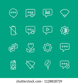 Vector illustration of outline icons for chat and messenger, mobile, photos on green background. Set includes  sms, speech,  no,  user,  failure,  black,  message, chat modern flat and material icons.