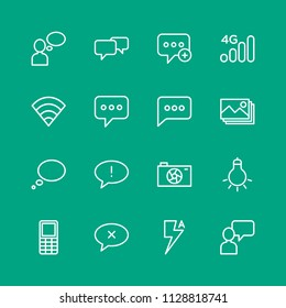 Vector illustration of outline icons for chat and messenger, mobile, photos on green background. Set includes  sms,  failure,  phone,  background,  message,  add,  sign modern flat and material icons.