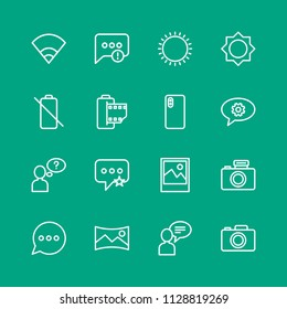 Vector illustration of outline icons for chat and messenger, mobile, photos on green background. Set includes  message, error,  failure,  photography,  background,  sky modern flat and material icons.