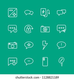 Vector illustration of outline icons for chat and messenger, mobile, photos on green background. Set includes  usb, speech,  failure,  remove, social,  share,  talk modern flat and material icons.