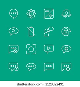 Vector illustration of outline icons for chat and messenger, mobile, photos on green background. Set includes  internet, mobile,  photography,  lens,  failure,  phone modern flat and material icons.