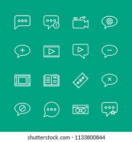 Vector illustration of outline icons for chat and messenger, video, bookmarks on green background. Set includes video,  mobile,  failure,  phone,  media,  sign,  retro modern flat and material icons.