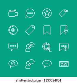 Vector illustration of outline icons for chat and messenger, video, bookmarks on green background. Set includes  white,  video,  retro,  television,  failure,  mobile modern flat and material icons.