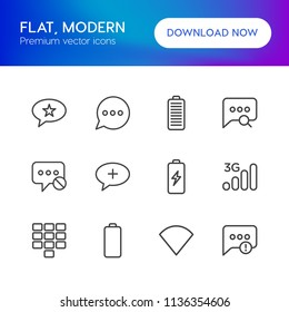 Vector illustration of outline icons for chat and messenger, mobile on white background. Set includes  no,  full,  battery,  cell, mobile, network,  failure, energy modern flat and material icons.