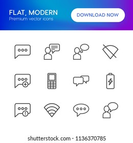 Vector illustration of outline icons for chat and messenger, mobile on white background. Set includes  retro,  messaging,  cell,  old,  idea, people,  text,  failure modern flat and material icons.