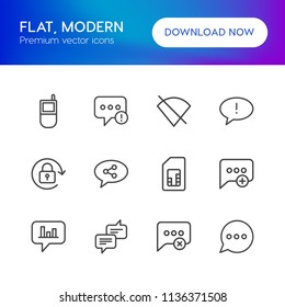 Vector illustration of outline icons for chat and messenger, mobile on white background. Set includes  network,  failure,  alert, social, retro, error,  add, internet modern flat and material icons.