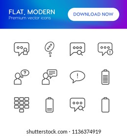 Vector illustration of outline icons for chat and messenger, mobile on white background. Set includes  danger,  answer,  mobile,  battery,  help,  social,  failure,  no modern flat and material icons.