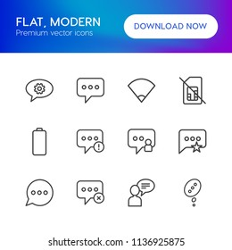 Vector illustration of outline icons for chat and messenger, mobile on white background. Set includes  people,  no, internet, error,  failure,  speech,  sms,  business modern flat and material icons.