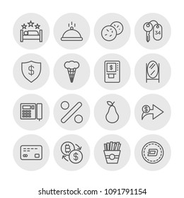 Vector illustration of outline icons for food, hotel, money on white background. Set includes  fresh,  hotel, bitcoin, pear,  finance,  three,  catering, percentage modern flat and material icons.
