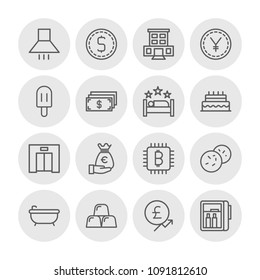 Vector illustration of outline icons for food, hotel, money on white background. Set includes bitcoin,  urban,  metal,  water,  modern,  interior,  room,  lift,  food modern flat and material icons.